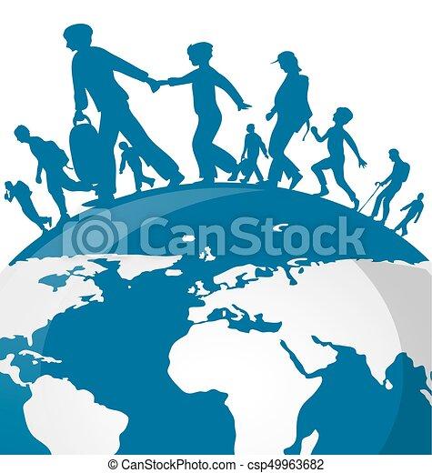 Inmigración en el fondo del mapa mundial - csp49963682