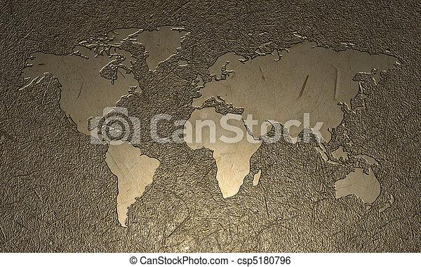 mundo, gravado, mapa - csp5180796