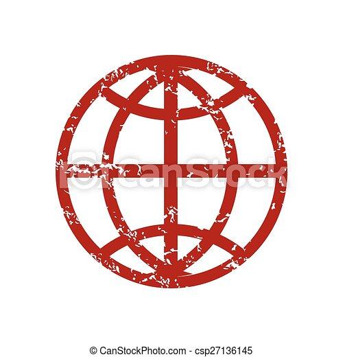 Logotipo del mundo grunge rojo - csp27136145