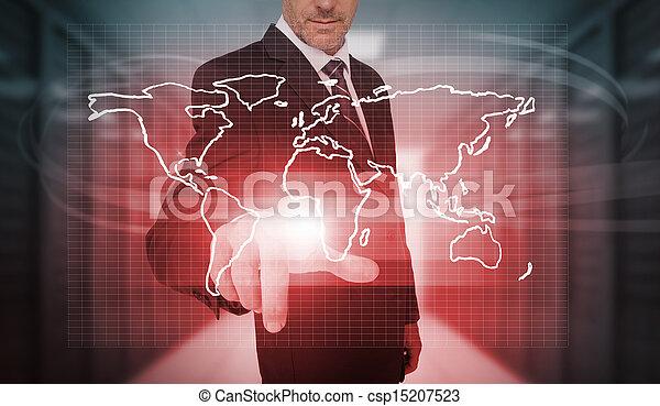 Empresario presionando el mapa del mundo rojo - csp15207523
