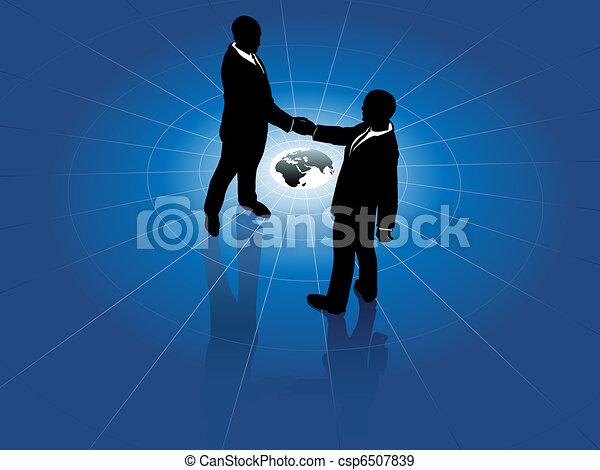 Los hombres de negocios globales saludan el acuerdo mundial - csp6507839