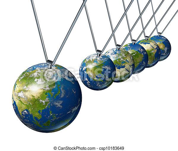 Péndulo de economía mundial con Asia - csp10183649