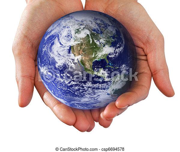 mundo, passe segurar, mãos humanas - csp6694578