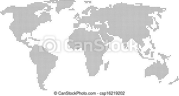 mundo, pontilhado, mapa - csp16219202