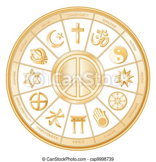 Simbolo de paz, religiones del mundo - csp9998739