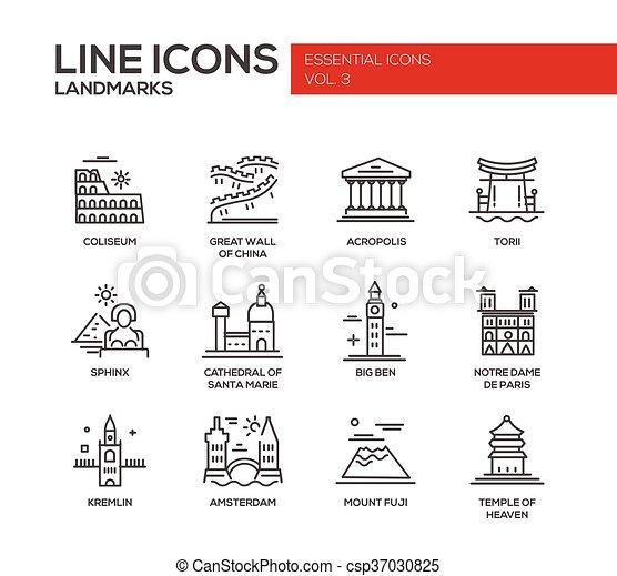 Los iconos de los puntos de referencia del mundo - csp37030825
