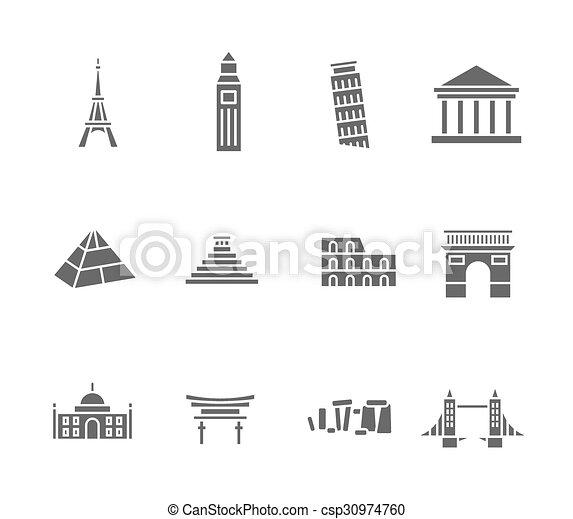 mundo, señales, conjunto, silueta, iconos - csp30974760