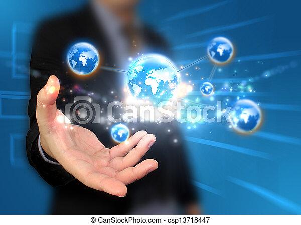 mundo, segurando mão - csp13718447