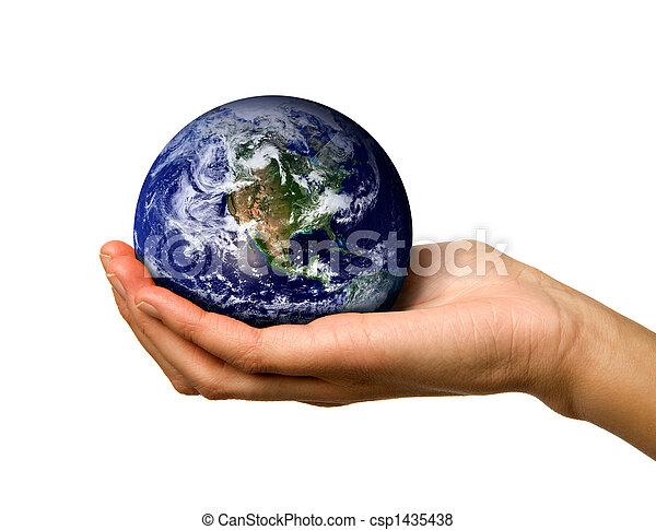 mundo, segurando mão - csp1435438