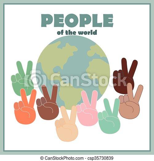 Todas las nacionalidades y el mundo - csp35730839