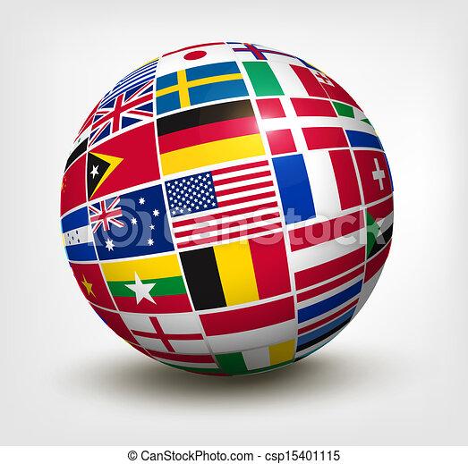 mundo, vetorial, bandeiras, globe., illustration. - csp15401115