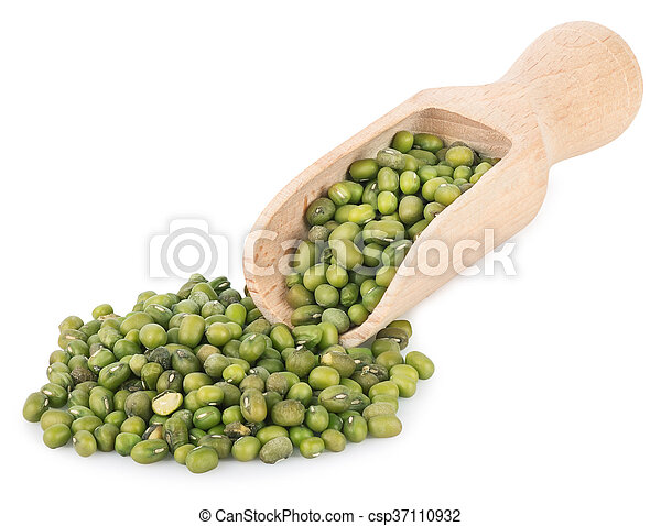 mung beans in wooden scoop isolated on white background - csp37110932