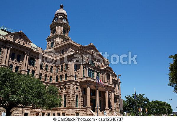 município, histórico, corte judicial, tarrant - csp12648737