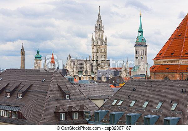 Munich in a cloudy summer day - csp32367187