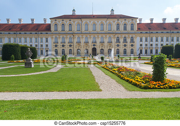 Castillo  ⁇ schleissheimer (lado oeste) cerca de Munich, Alemania - csp15255776