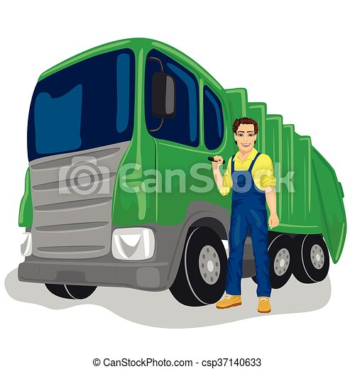 Municipal worker next to recycling garbage collector truck loading waste and trash bin - csp37140633