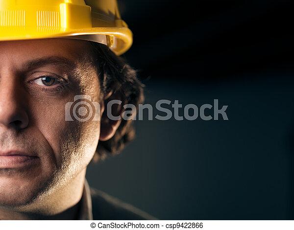 munkás, sisak, kézikönyv, felnőtt, portré - csp9422866