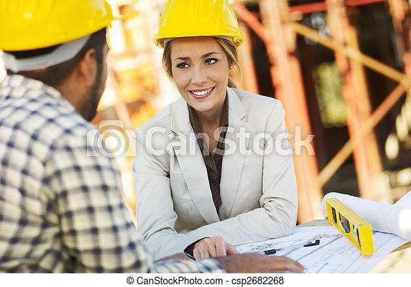 munkás, szerkesztés, építészmérnök, női - csp2682268