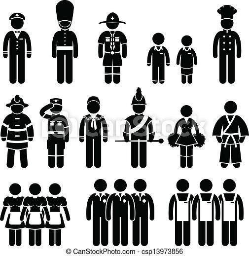 munka, egyenruha, öltözet, hord, felszerelés - csp13973856