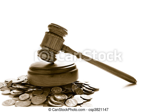 muntjes, rechters, op, stapel, gavel, witte , wet - csp3821147