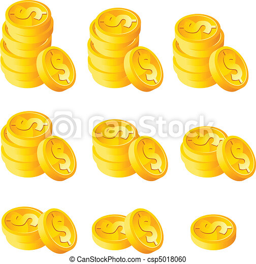 muntjes, stapel, goud - csp5018060