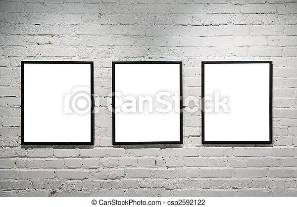 mur, 3, noir, cadres, brique, blanc - csp2592122