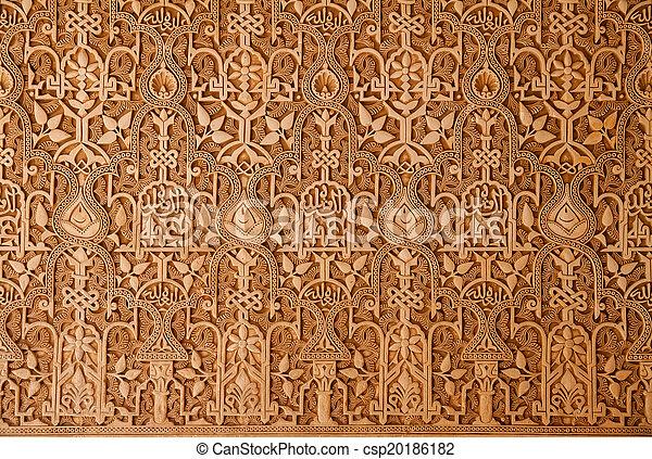 mur, alhambra, ornements, palais - csp20186182
