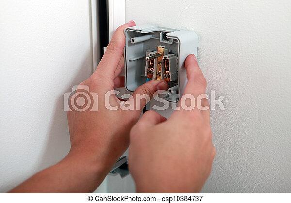 mur, attacher, électrique, électricien, sortie - csp10384737