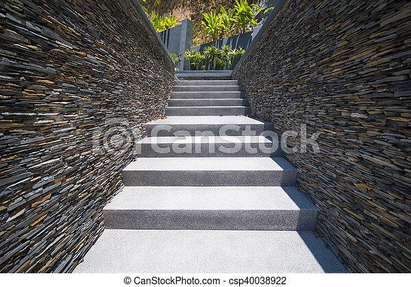 Mur, béton, pierre, escalier. Béton, mur pierre, escalier, architecture.