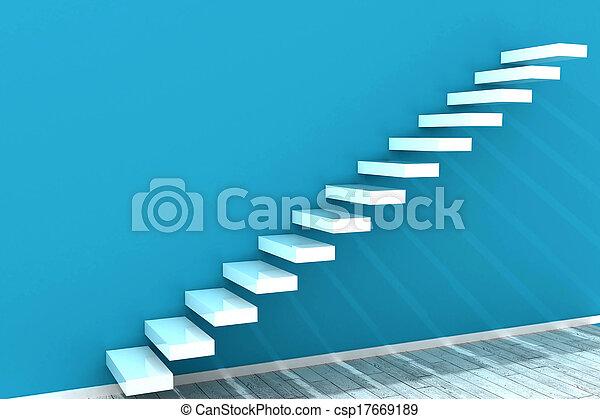 mur blanc, étapes, bleu - csp17669189