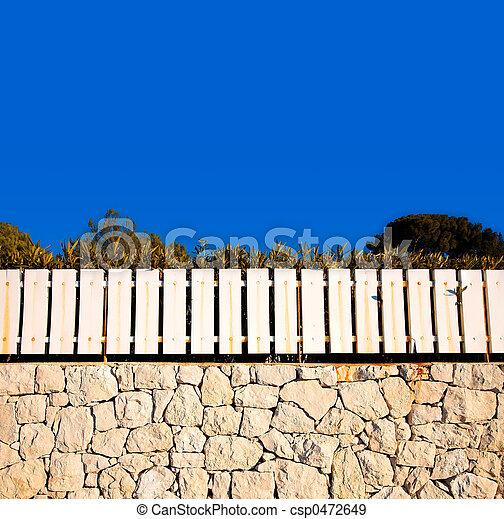 Banque de photographies de mur blanc cl ture pierre for Barriere mur de cloture