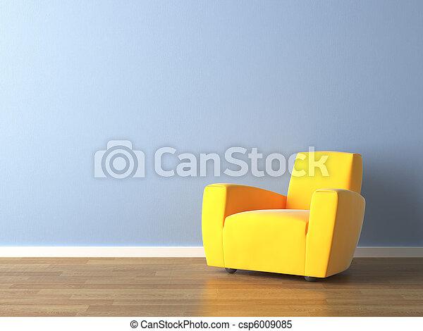 mur bleu, fauteuil, jaune, conception, intérieur - csp6009085