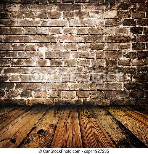 mur, bois, brique, grunge, plancher - csp11927235