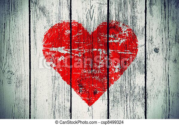 mur bois, symbole, amour, vieux - csp8499324