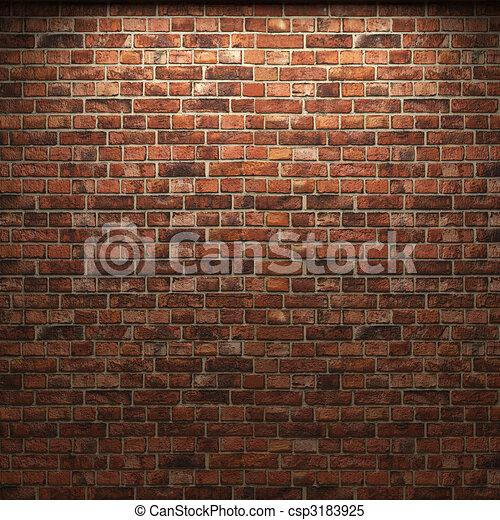 mur, brique, éclairé - csp3183925