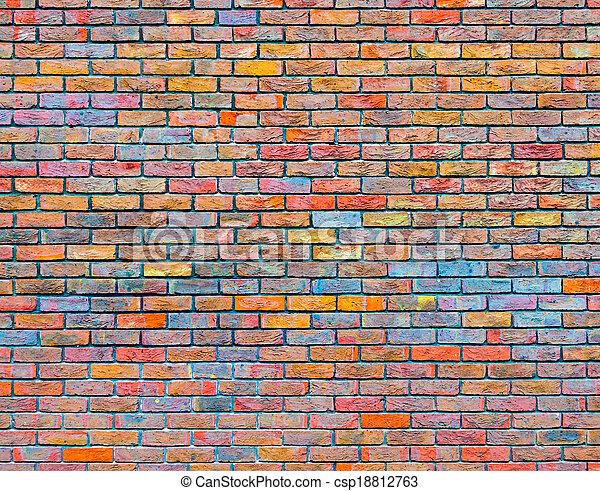 mur, brique, coloré, texture - csp18812763