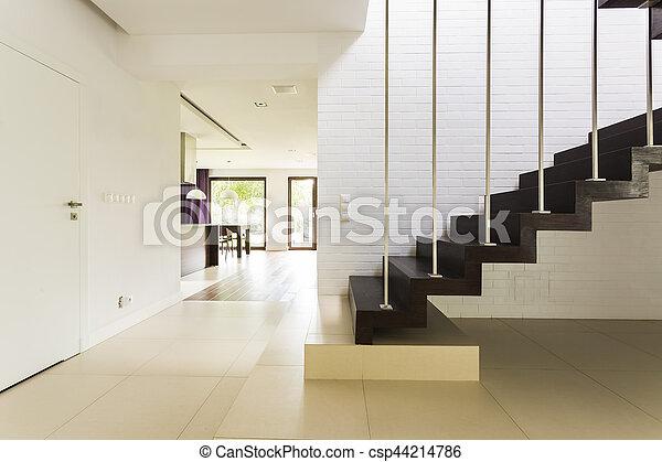 mur, brique, escalier