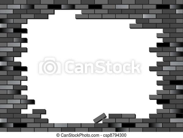 Mur brique noir effondr ton image partiellement - Mur brique noir ...