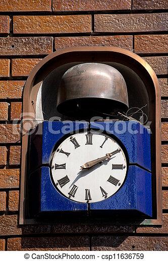 mur, brique, pendre, retro, horloge - csp11636759