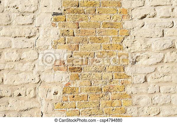 Mur Brique Vieux Jaune Pastel Grunge Fond Mur Jaune