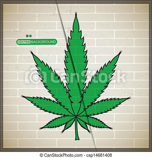 Mur Cannabis Brique Feuille Feuille Mur Cannabis Fond Grunge Brique Canstock