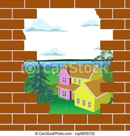 Mur Casse Brique Beau Mur Casse Derriere Brique Paysage Canstock
