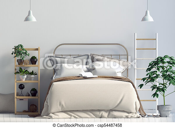 Mur, Chambre À Coucher, Haut, Illustration, Scandinave, Interior., Style.,  Railler, 3d