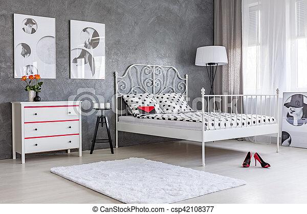 Mur, chambre à coucher, stuc, gris. Commode, mur, gris, fonctionnel ...
