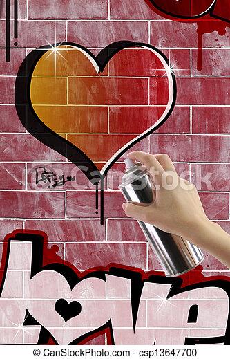 mur coeur brique graffiti rouges photographie de stock rechercher des images et des photos. Black Bedroom Furniture Sets. Home Design Ideas