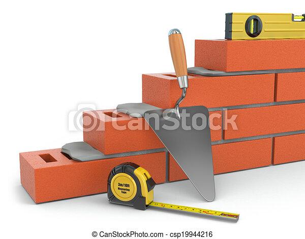 mur, concept., niveau, truelle, construction, brique - csp19944216