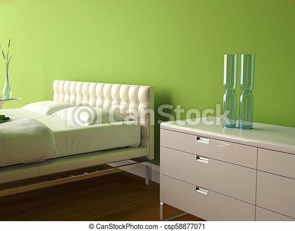 Mur, décor, moderne, vert, chambre à coucher. Décor, moderne, gris ...