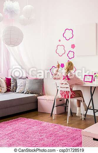 Mur Decoration Girly Chambre A Coucher Rose Girly Mur Image