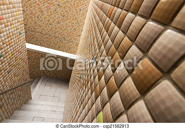 mur, escalier, mosaïque, texture