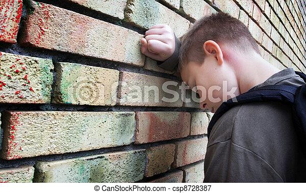 mur, garçon, désordre, contre - csp8728387